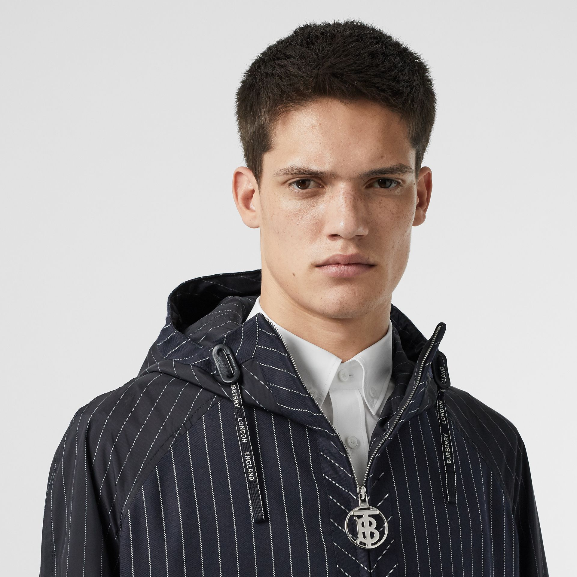 Pinstriped Wool Hooded Jacket in Dark Navy/white | Burberry Australia - gallery image 6