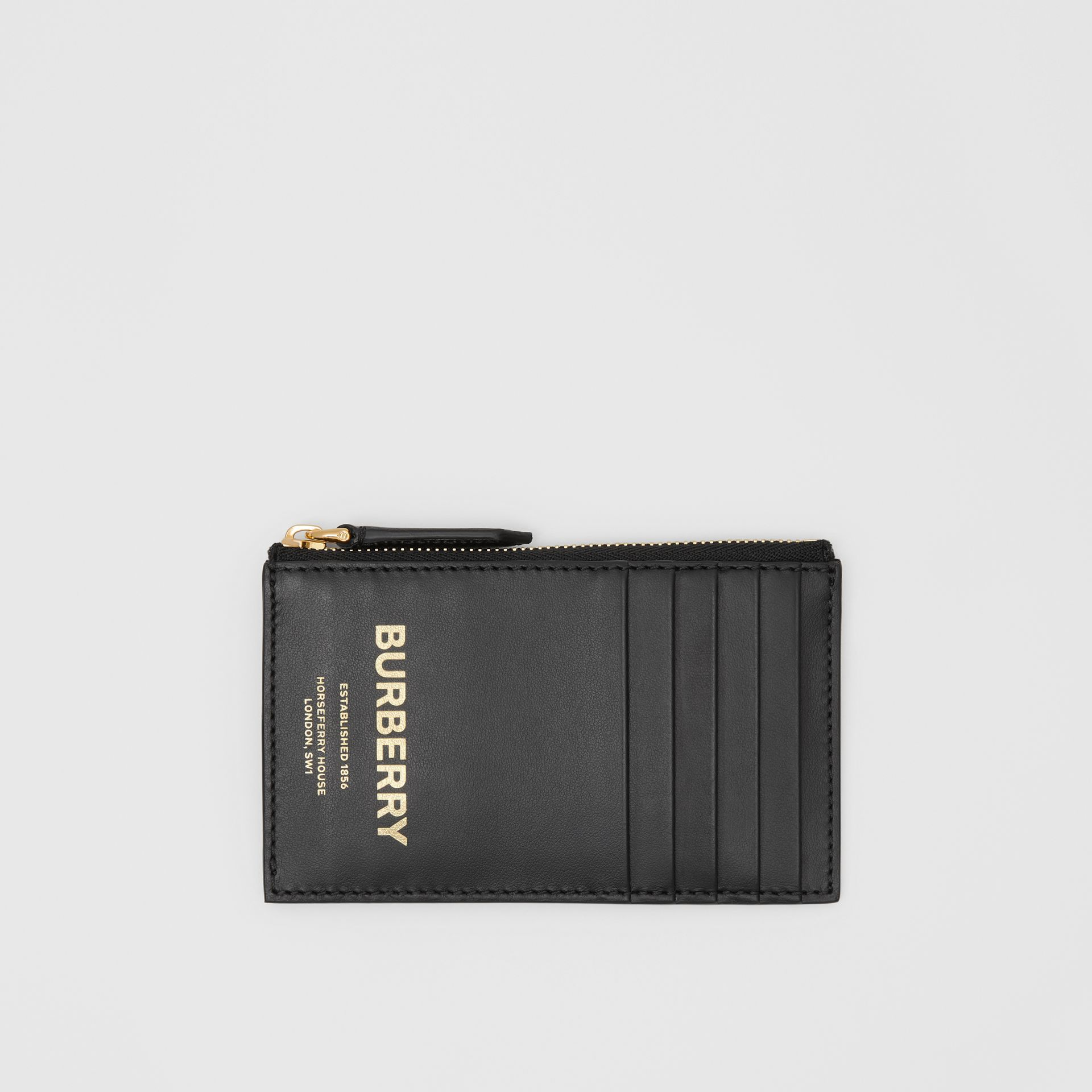 Horseferry Print Leather Zip Card Case in Black - Men | Burberry Australia - gallery image 0