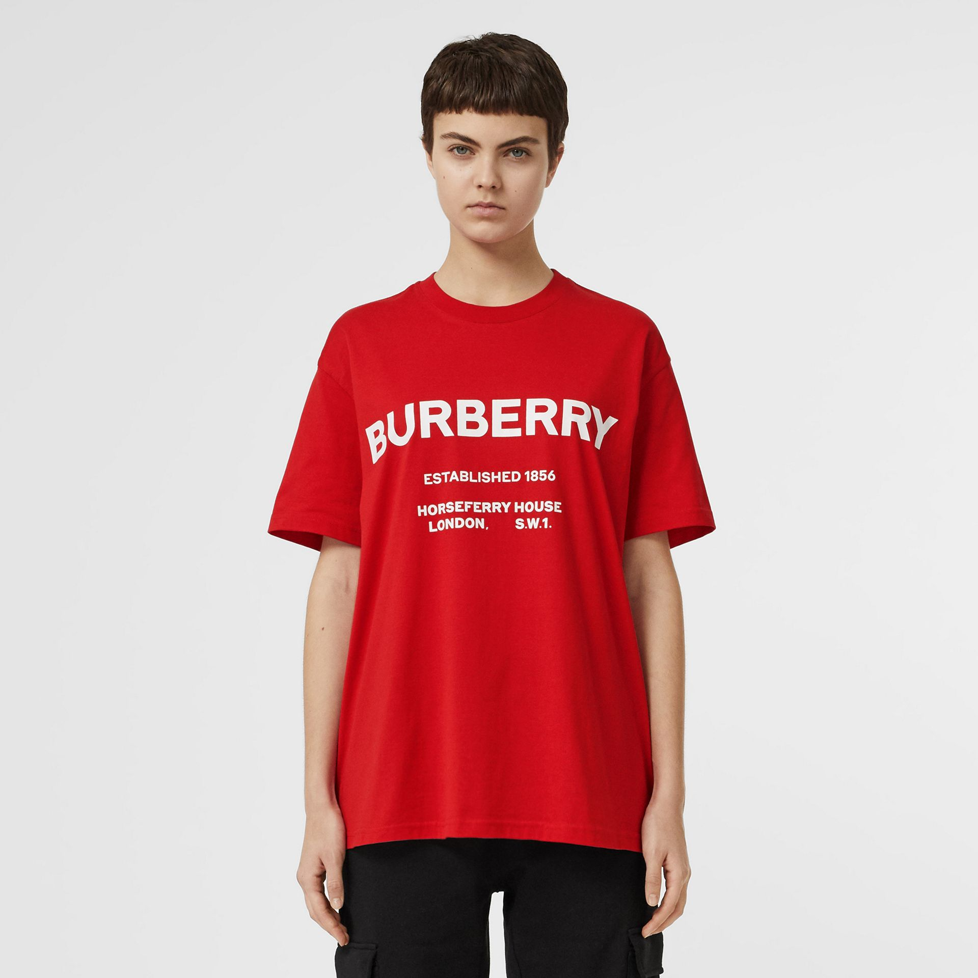 Horseferry Print Cotton Oversized T-shirt in Bright Red - Women | Burberry United States - gallery image 5
