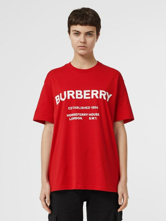 Horseferry Print Cotton T-shirt in Bright Red