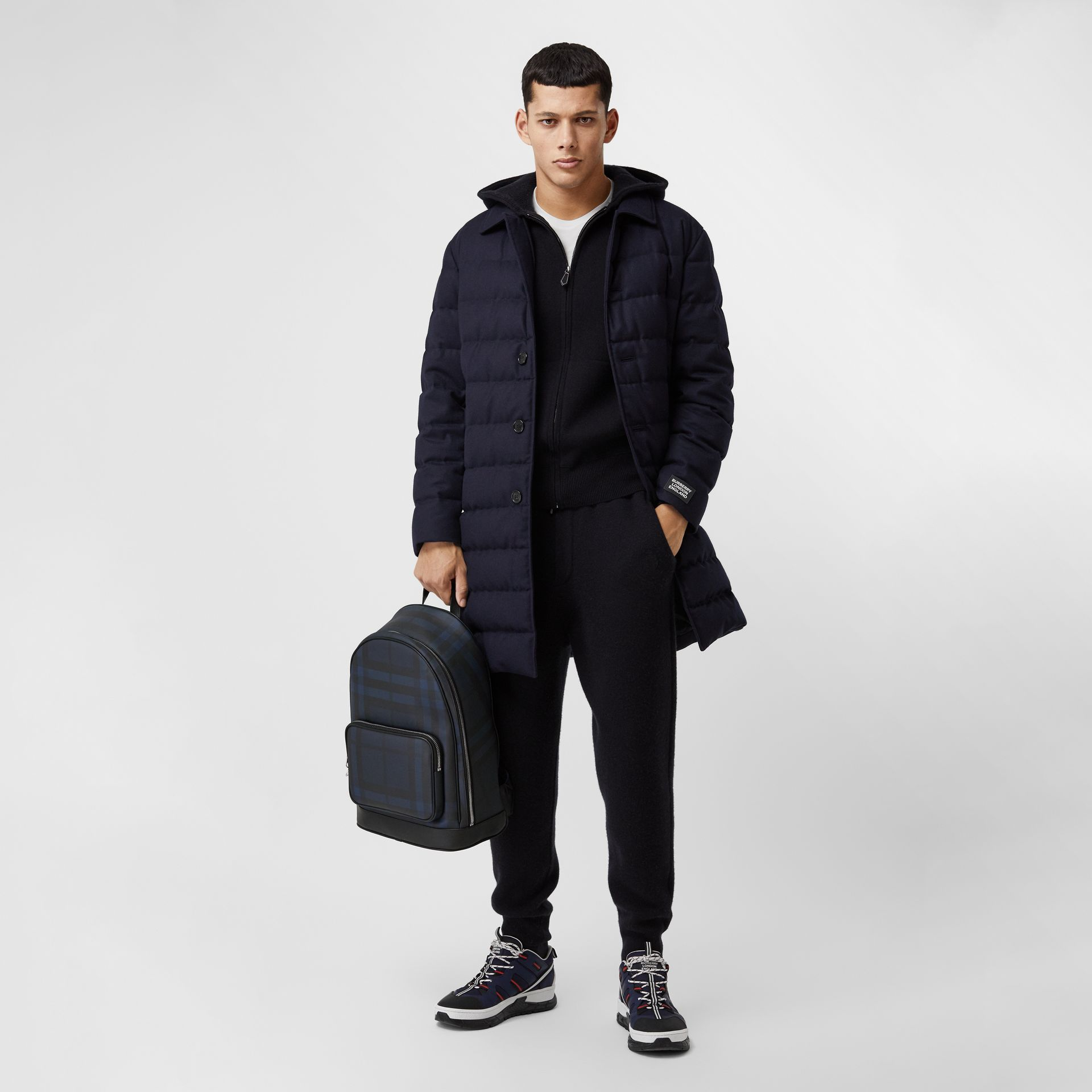 London Check and Leather Backpack in Navy | Burberry United Kingdom - gallery image 7