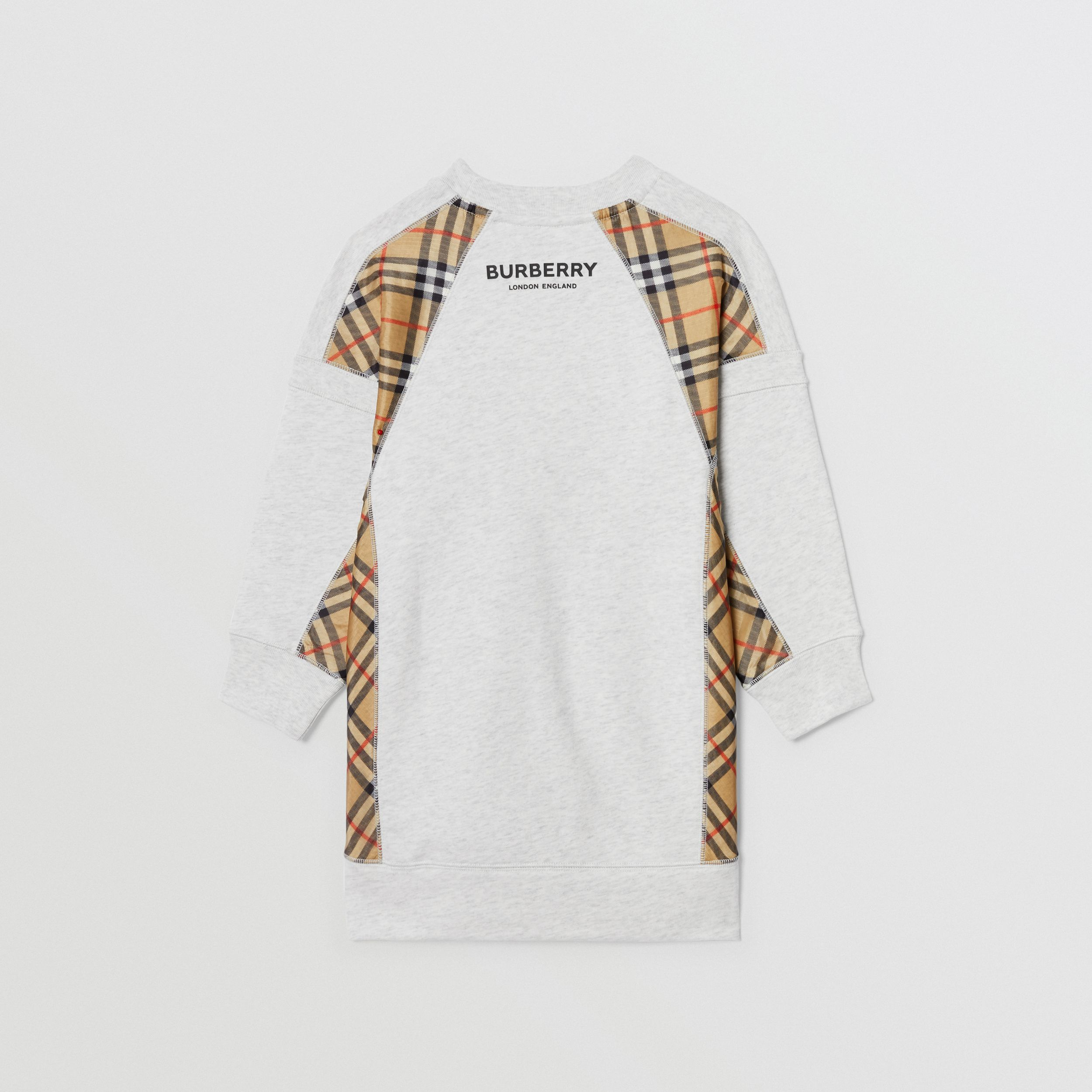Vintage Check Panel Cotton Sweater Dress in White Melange | Burberry - 4
