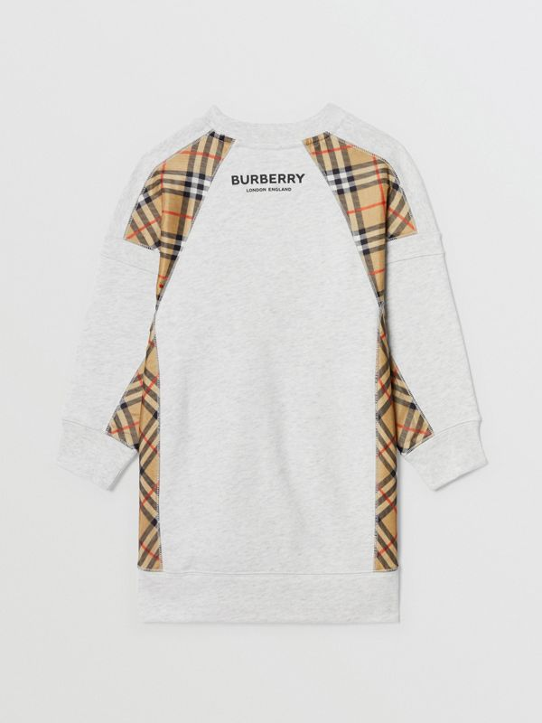 Vintage Check Panel Cotton Sweater Dress in White Melange | Burberry - cell image 3