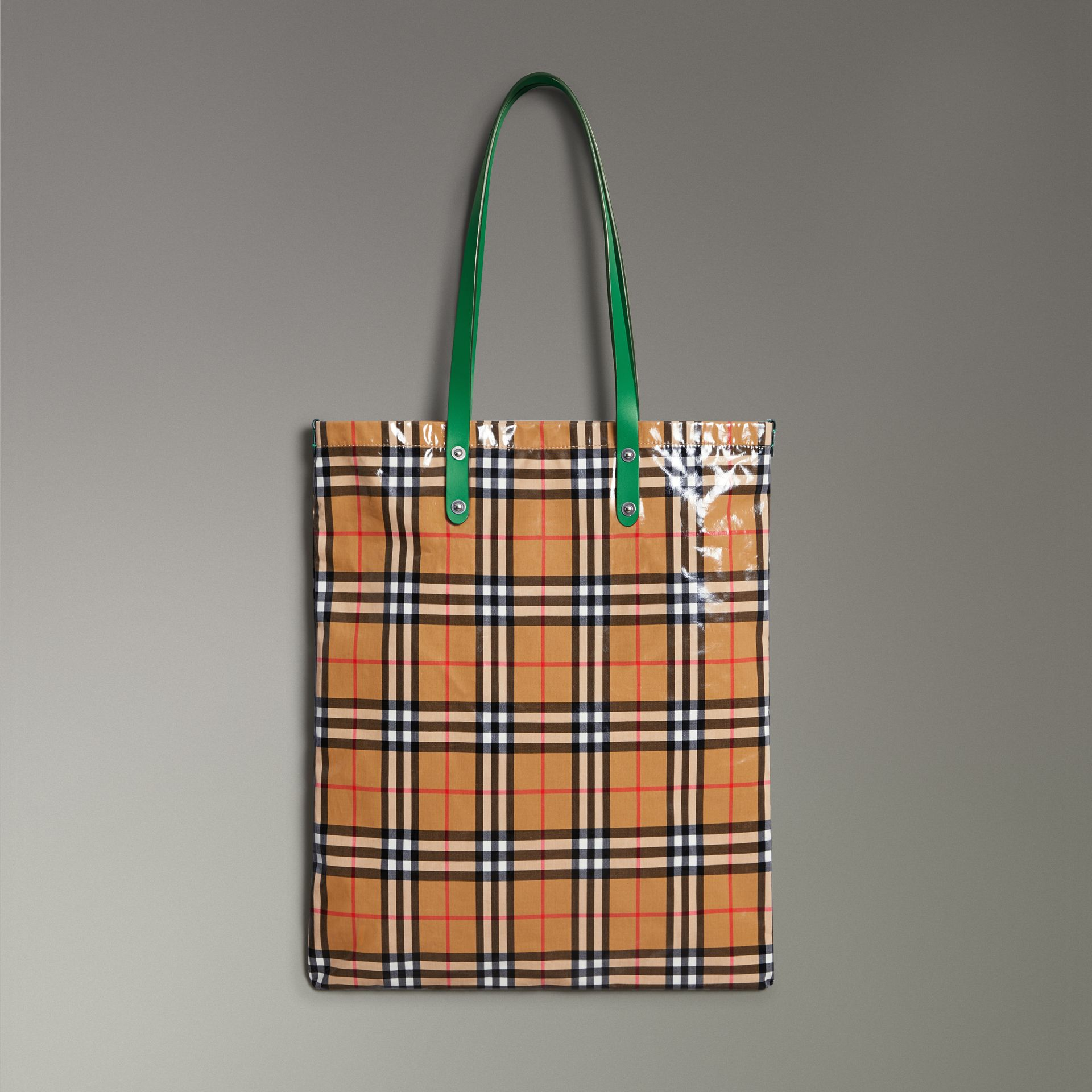 Large Coated Vintage Check Shopper in Palm Green | Burberry United States - gallery image 0