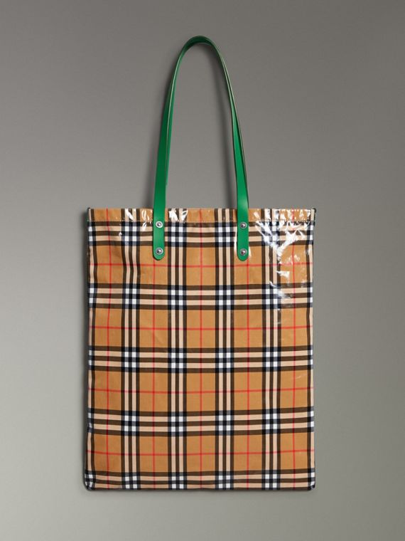 Large Coated Vintage Check Shopper in Palm Green