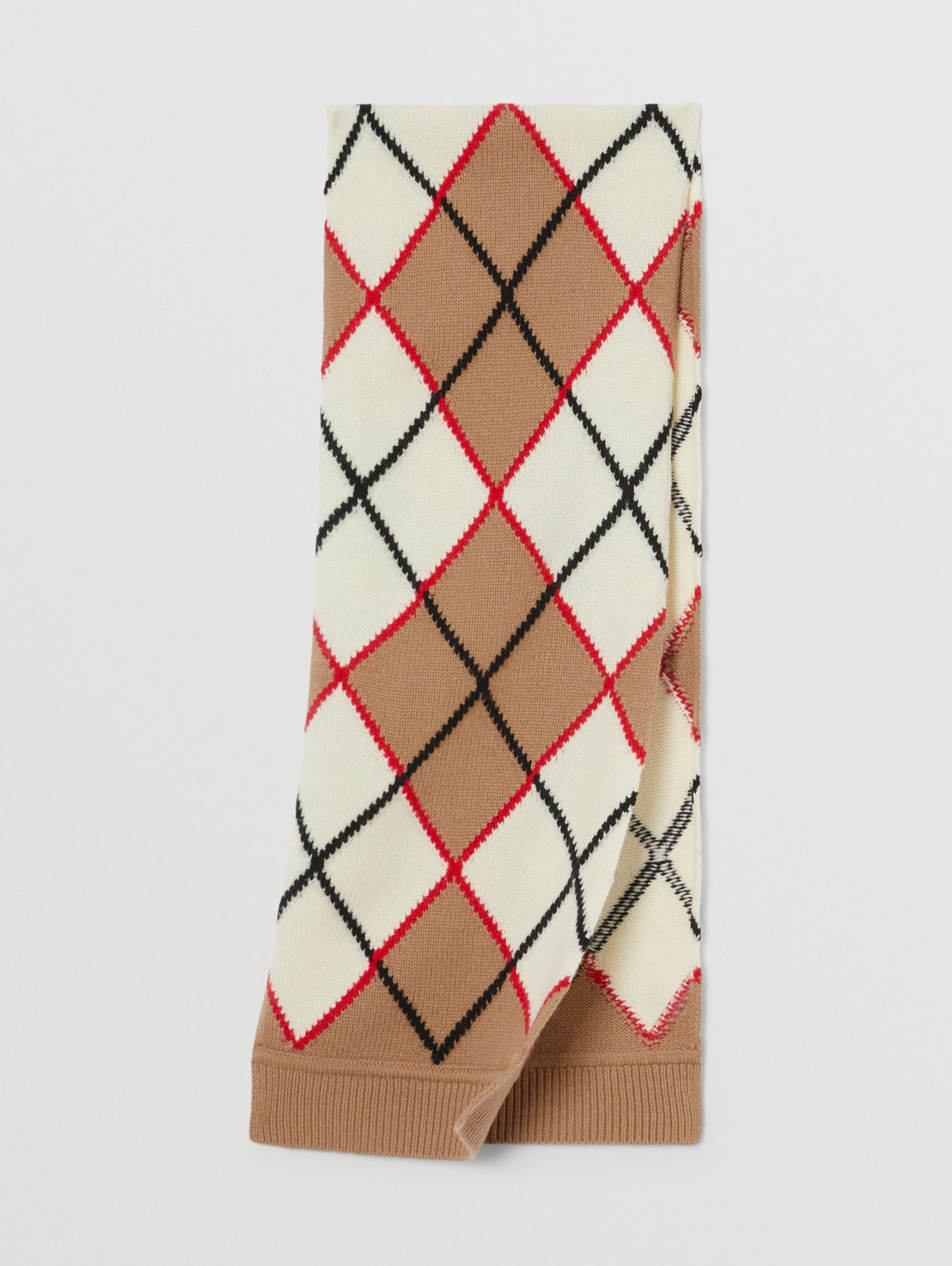 Argyle Intarsia Wool Cashmere Scarf in Camel