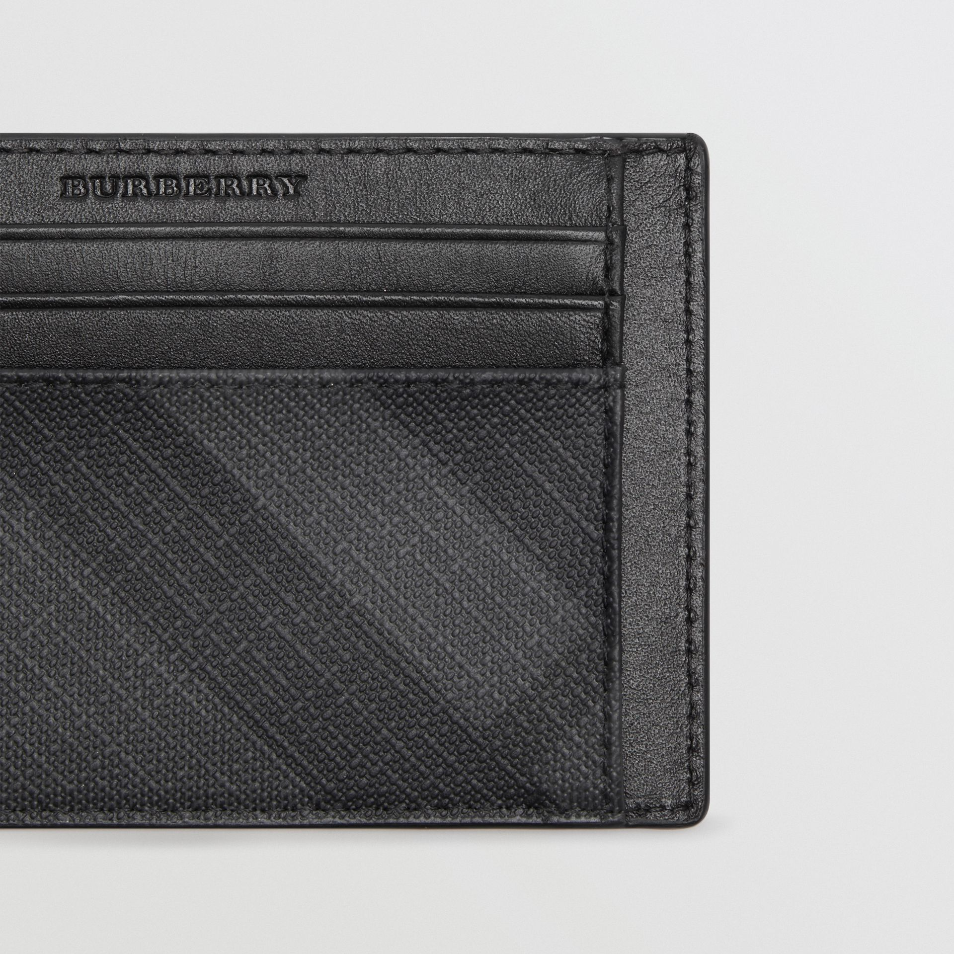 London Check Card Case in Charcoal/black - Men | Burberry - gallery image 1