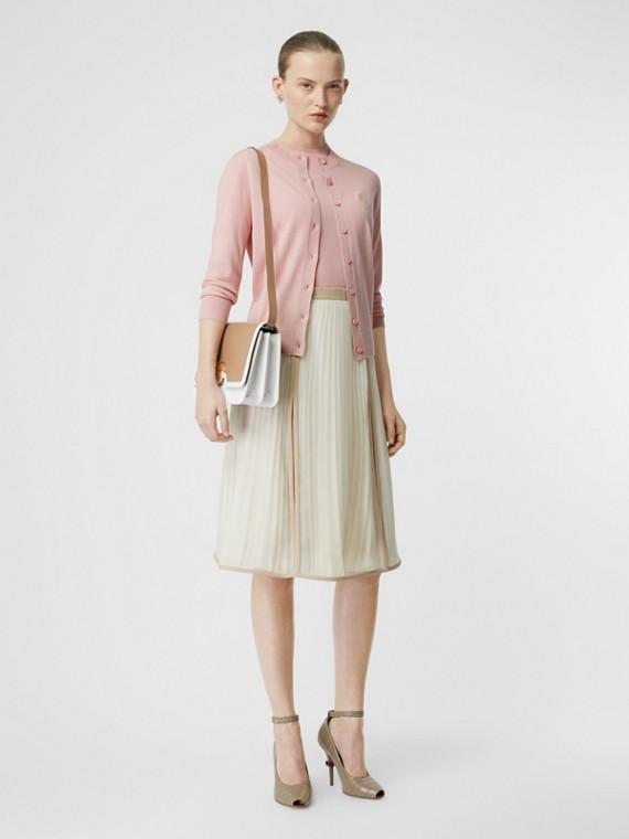 Monogram Motif Cashmere Cardigan in Pink