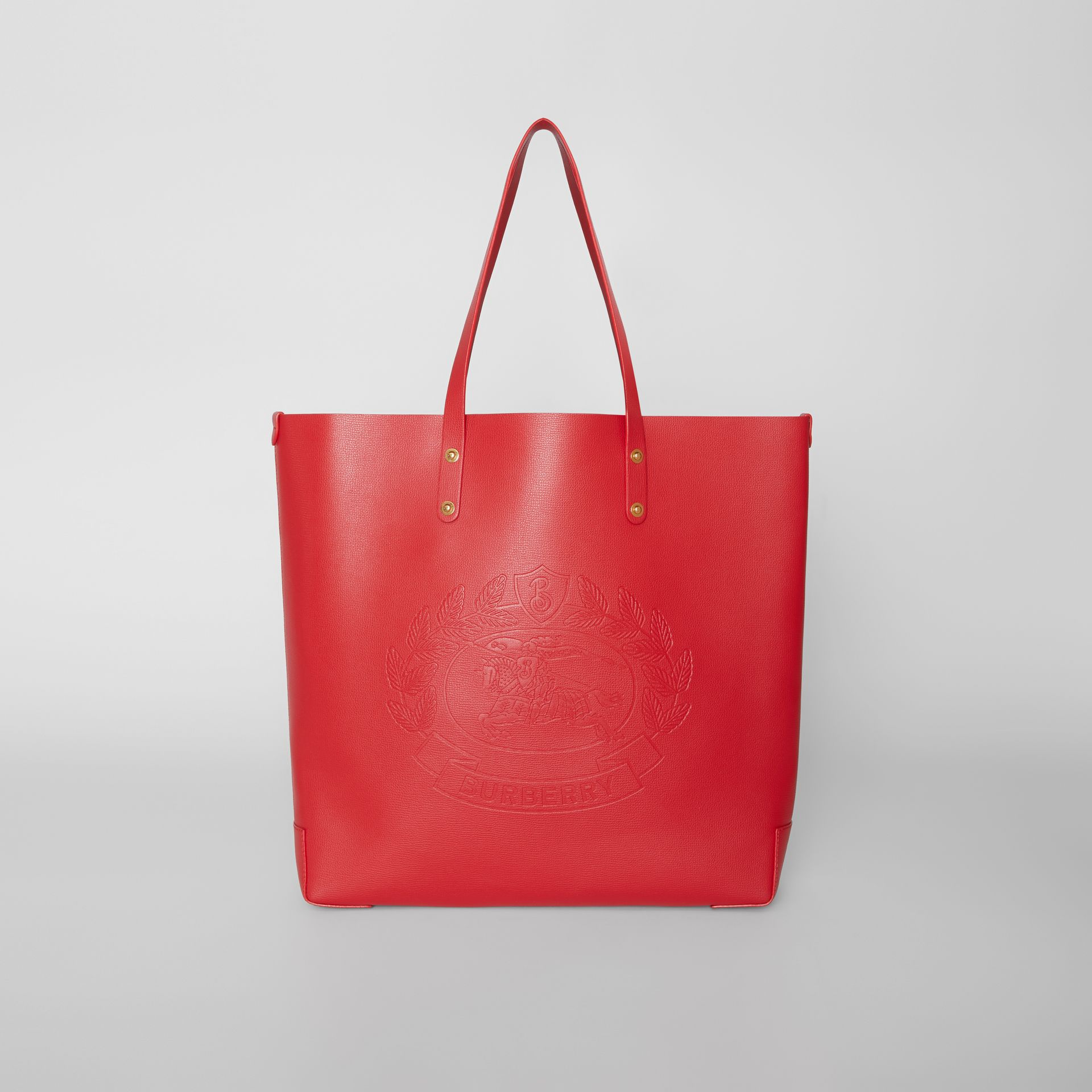 Embossed Crest Leather Tote in Rust Red - Women | Burberry - gallery image 0