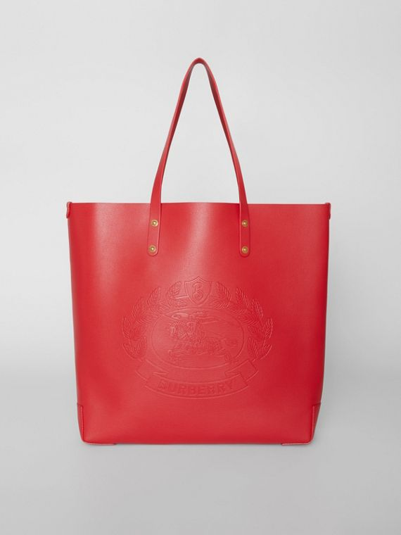 Large Embossed Crest Leather Tote in Rust Red
