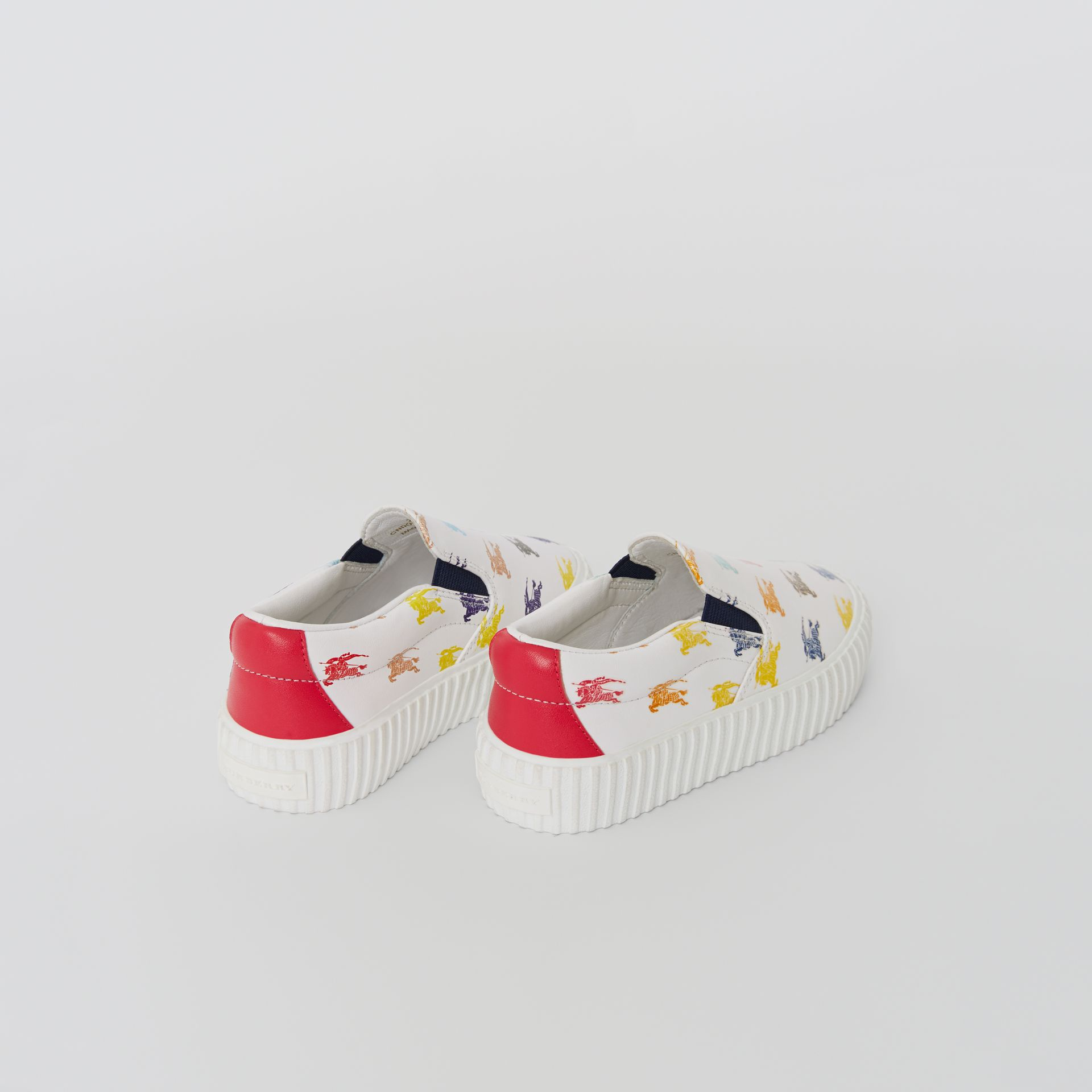 EKD Leather Slip-on Sneakers in Optic White - Children | Burberry United Kingdom - gallery image 2