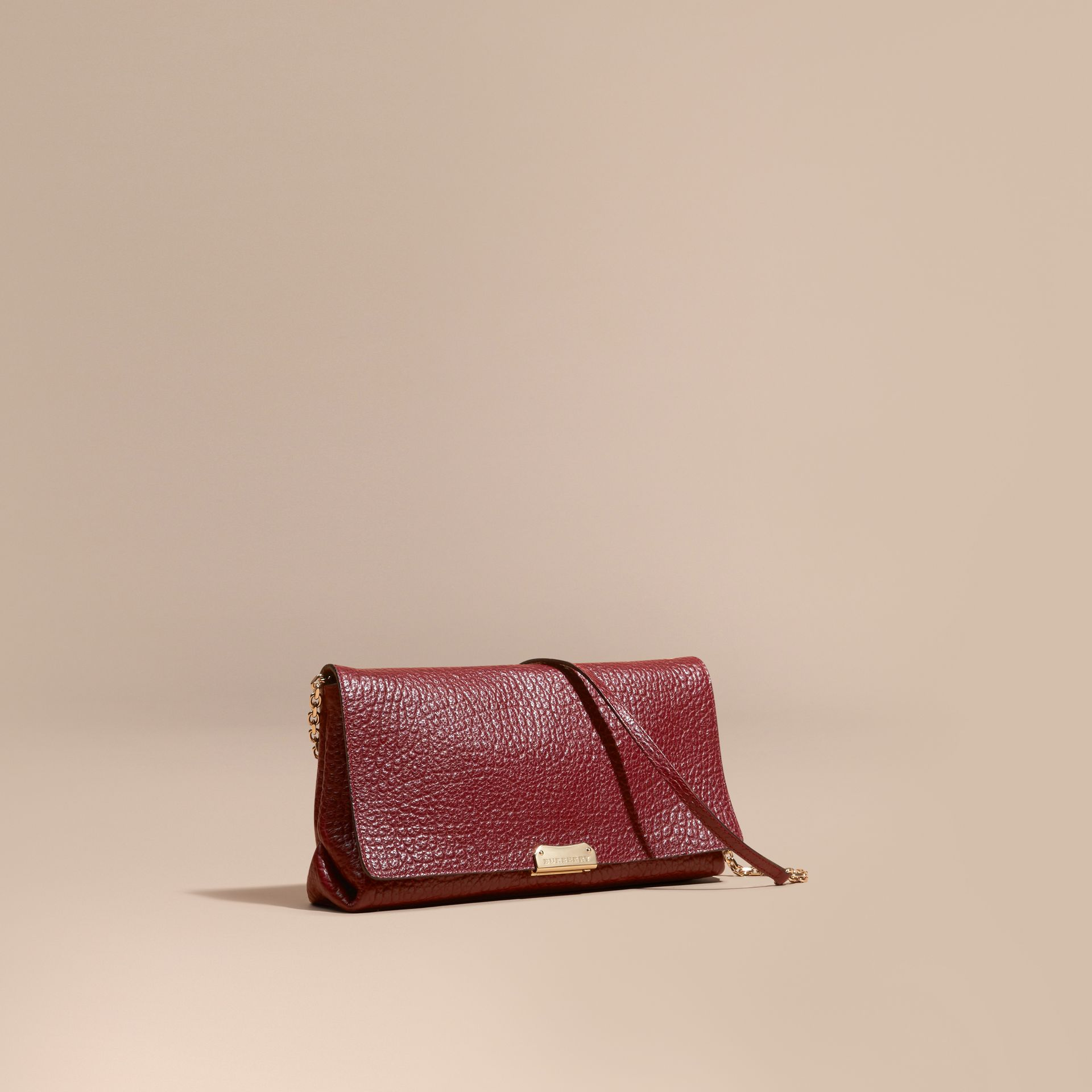 Deep red Medium Signature Grain Leather Clutch Bag Deep Red - gallery image 1