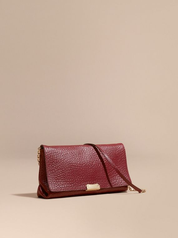Medium Signature Grain Leather Clutch Bag Deep Red