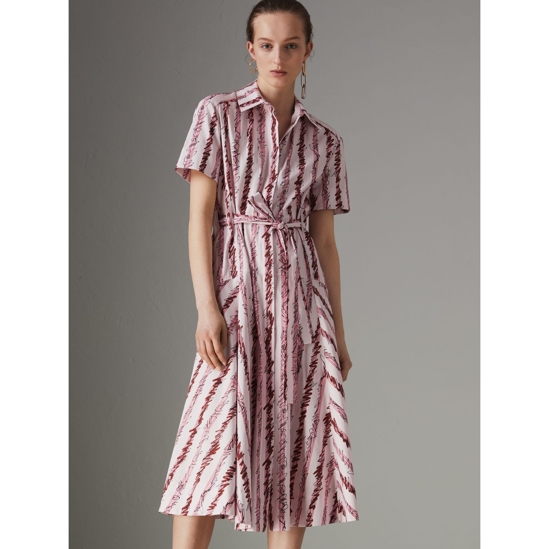 Scribble Stripe Cotton Shirt Dress in Light Pink - Women | Burberry - gallery image 4