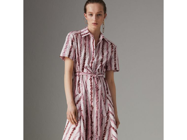 Scribble Stripe Cotton Shirt Dress in Light Pink - Women | Burberry - cell image 4