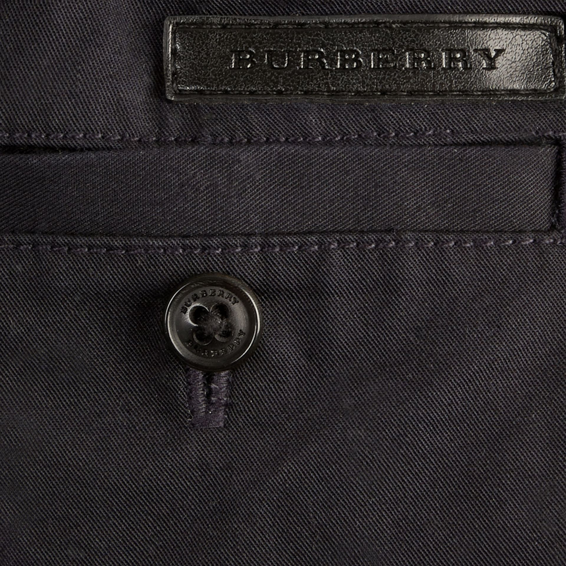 Ink Check Detail Cotton Chino Shorts Ink - gallery image 2