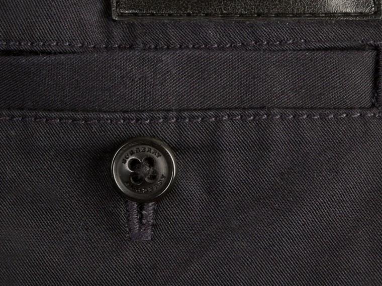 Inchiostro Pantaloncini chino in cotone con dettagli check Inchiostro - cell image 1