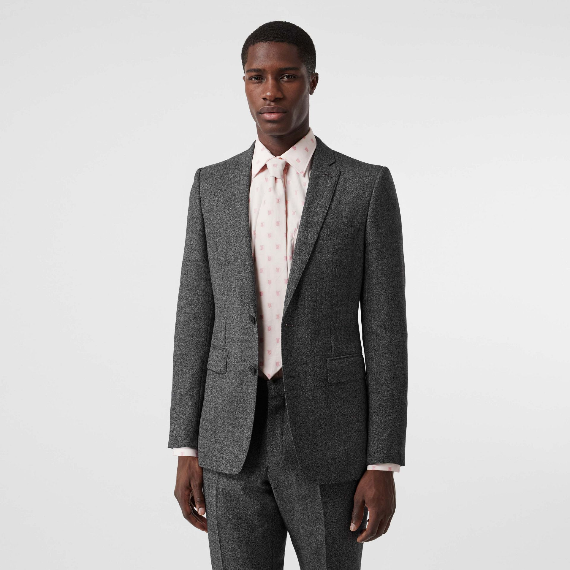 English Fit Sharkskin Wool Suit in Black Melange - Men | Burberry Australia - gallery image 6
