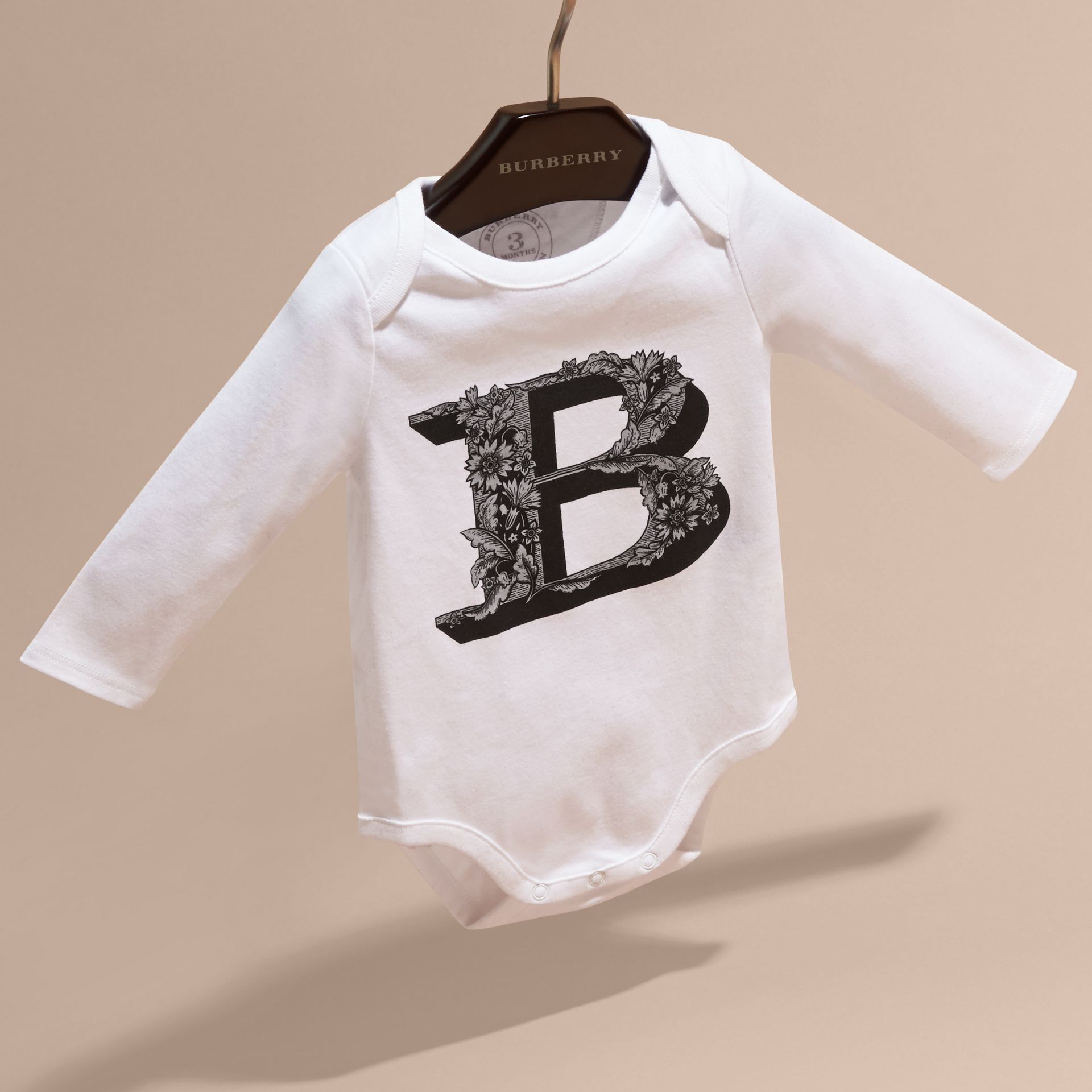 Black Decorative Letter Motif Long-sleeved Cotton Bodysuit Black - gallery image 3