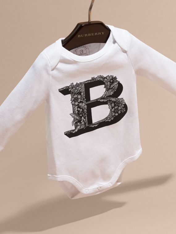 Black Decorative Letter Motif Long-sleeved Cotton Bodysuit Black - cell image 2