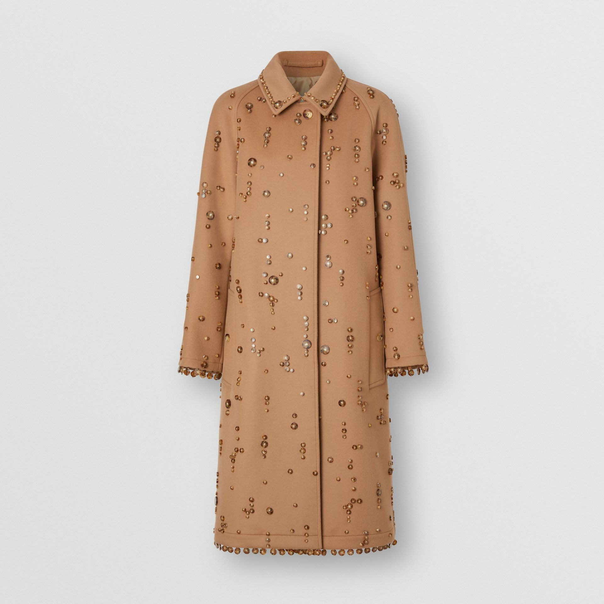 Embellished Wool Cashmere Car Coat in Camel - Women | Burberry - gallery image 3