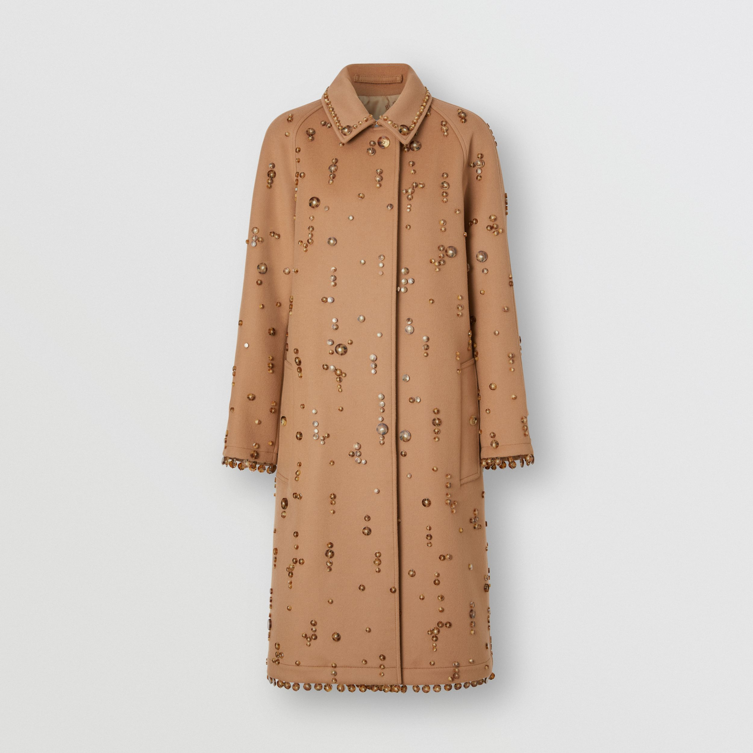 Embellished Wool Cashmere Car Coat in Camel - Women | Burberry - 4