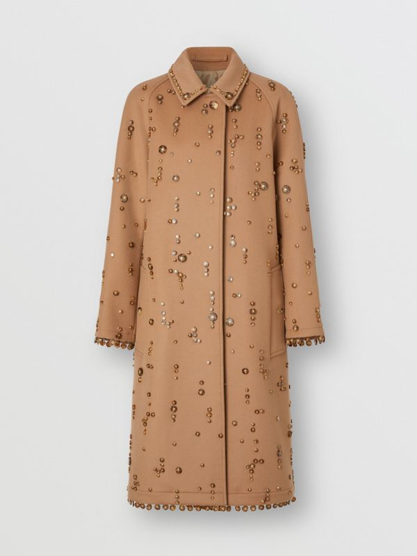 Embellished Wool Cashmere Car Coat in Camel - Women | Burberry Singapore - cell image 3