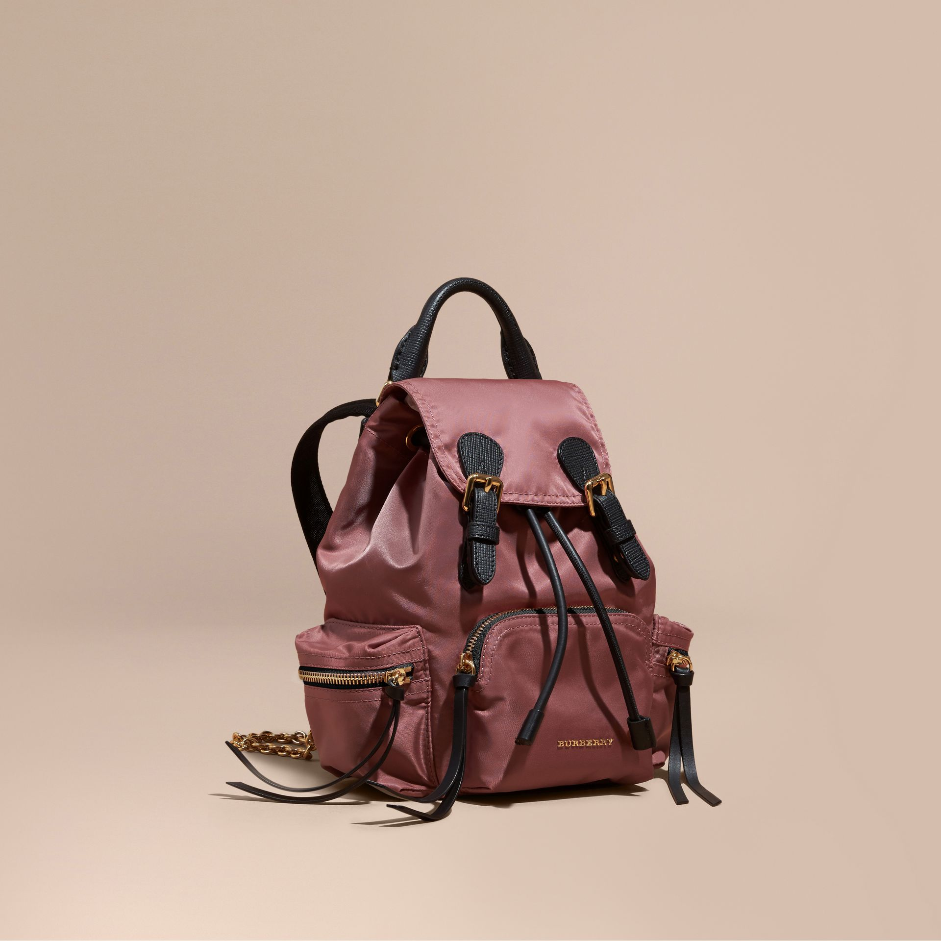 The Small Rucksack in Technical Nylon and Leather in Mauve Pink - gallery image 1