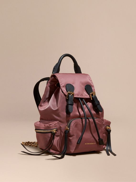 The Small Rucksack in Technical Nylon and Leather in Mauve Pink