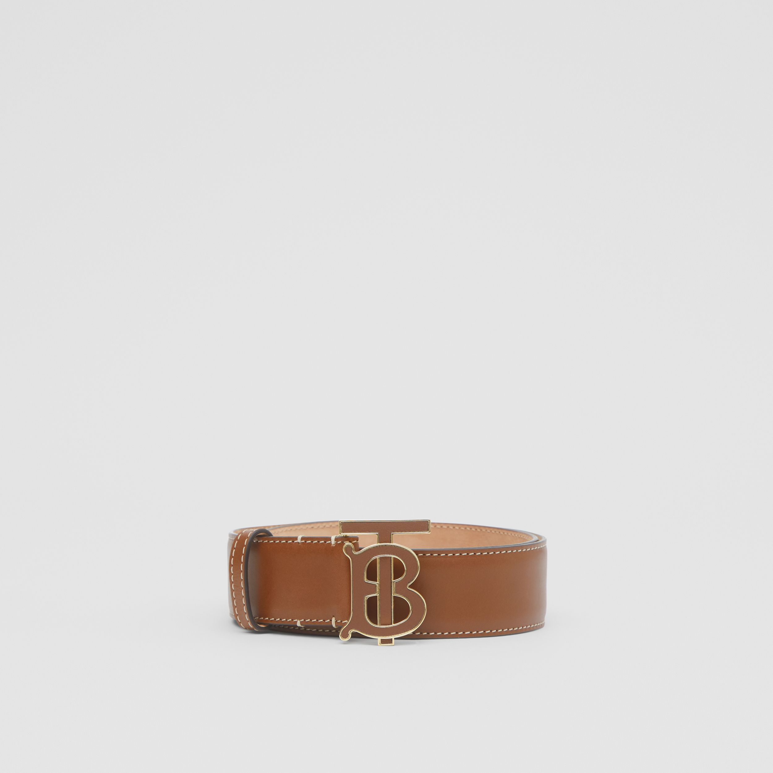 Monogram Motif Leather Belt in Tan | Burberry - 4