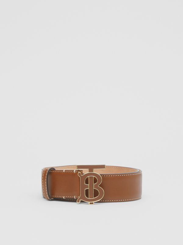 Monogram Motif Leather Belt in Tan - Women | Burberry Canada - cell image 3