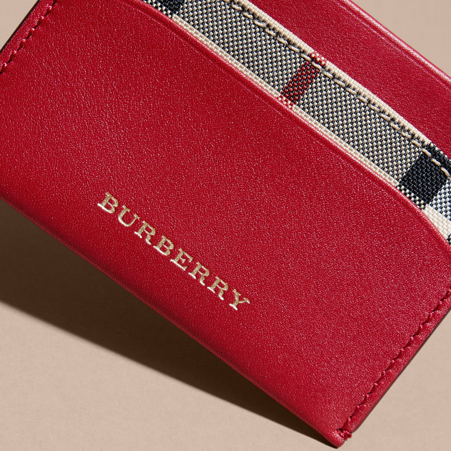 Check and Leather Card Case in Parade Red - Women | Burberry - gallery image 2