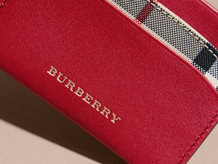 Check and Leather Card Case in Parade Red - Women | Burberry - cell image 1