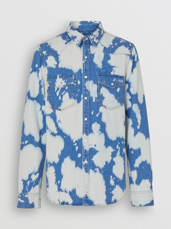 Monogram Motif Bleached Denim Shirt in Light Indigo