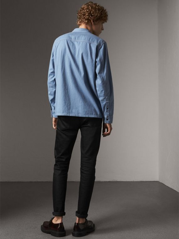 Japanese Denim Work Shirt in Light Blue - Men | Burberry United Kingdom - cell image 2