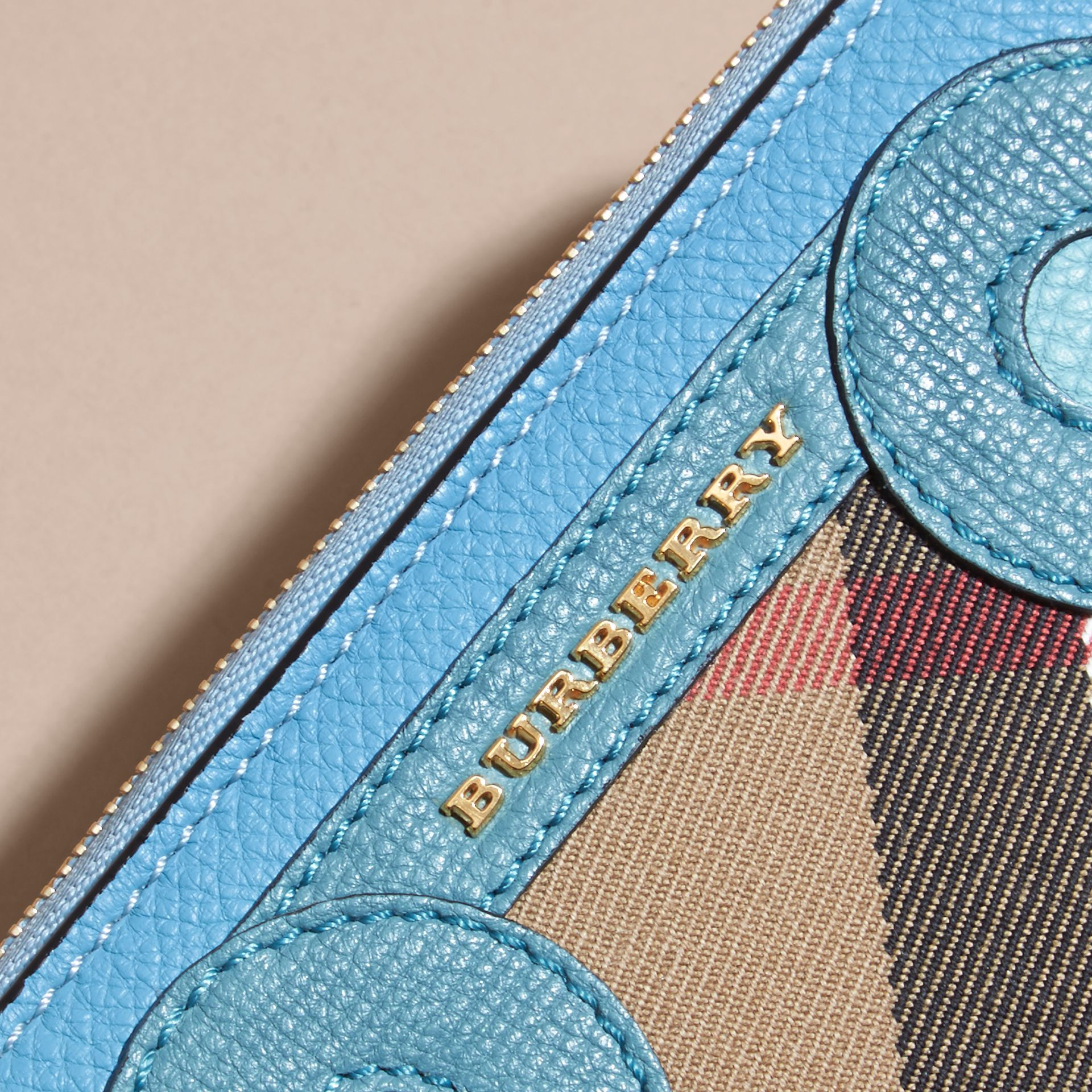 Bright mineral blue Grainy Leather Appliqué House Check Ziparound Wallet - gallery image 2
