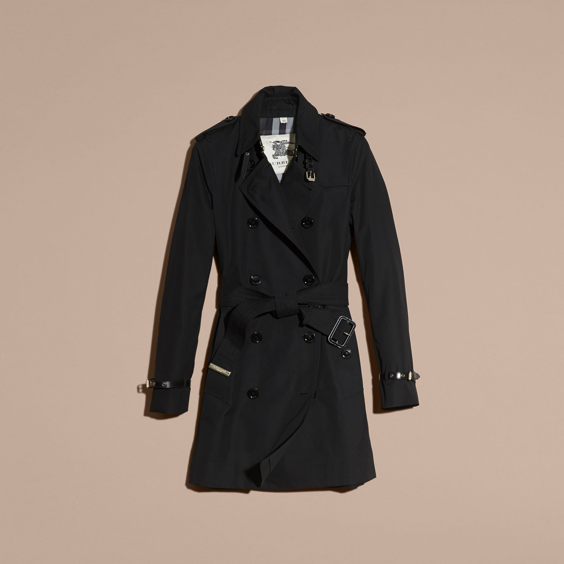 Black Leather Detail Cotton Gabardine Trench Coat Black - gallery image 4