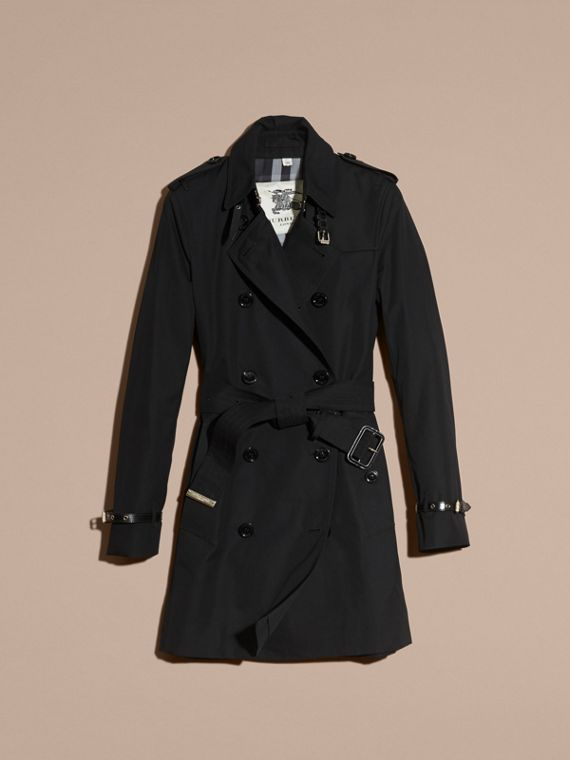 Black Leather Detail Cotton Gabardine Trench Coat Black - cell image 3