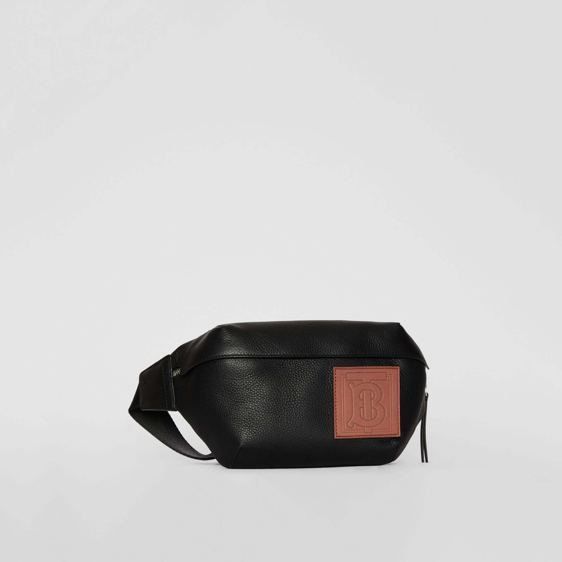 Medium Monogram Motif Leather Bum Bag in Black | Burberry - gallery image 6