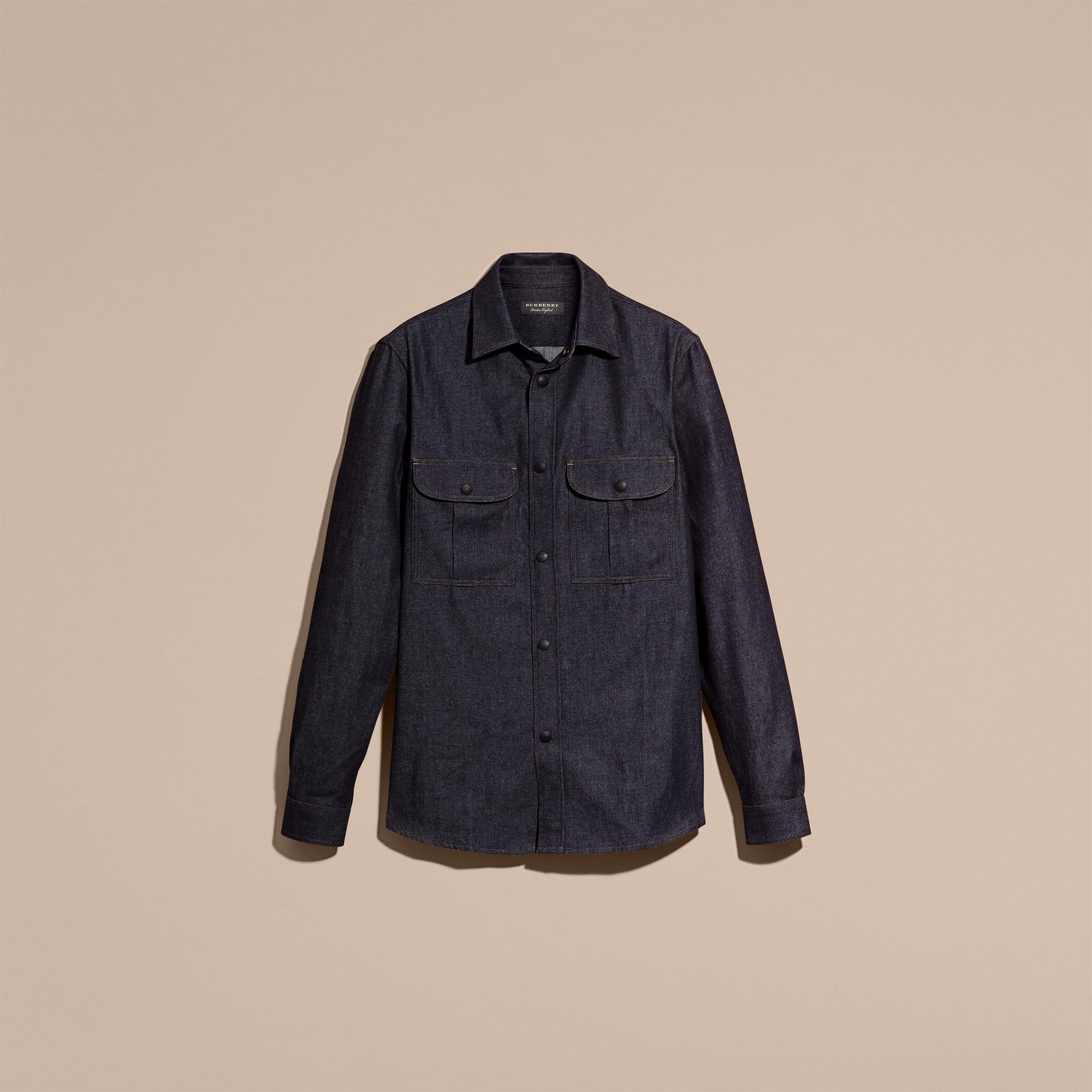 Indigo Slim Fit Japanese Denim Shirt - gallery image 4