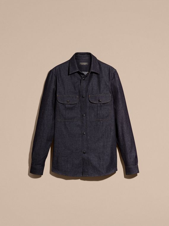 Indaco Camicia sfiancata in denim giapponese - cell image 3