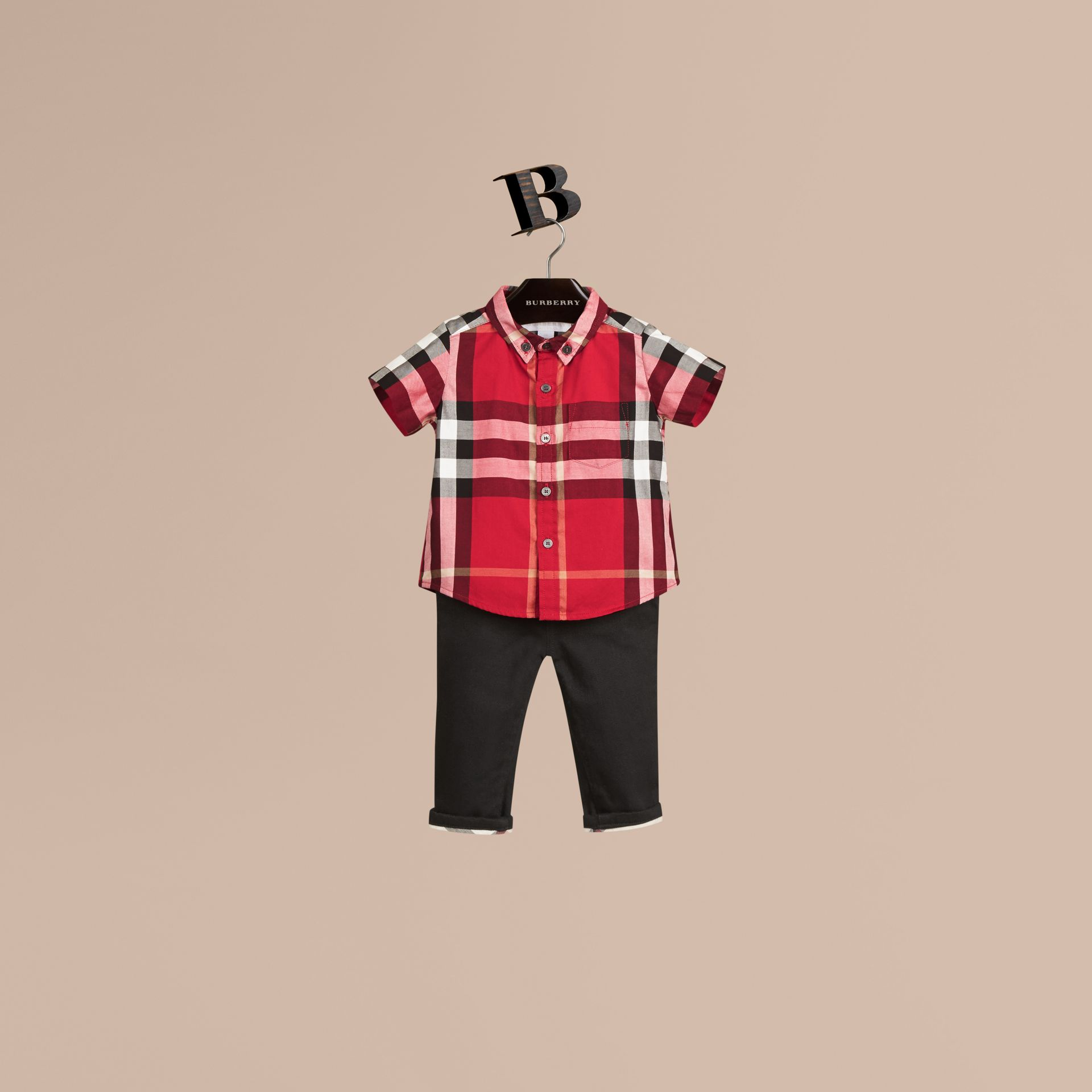 Parade red Check Cotton Twill Shirt Parade Red - gallery image 1