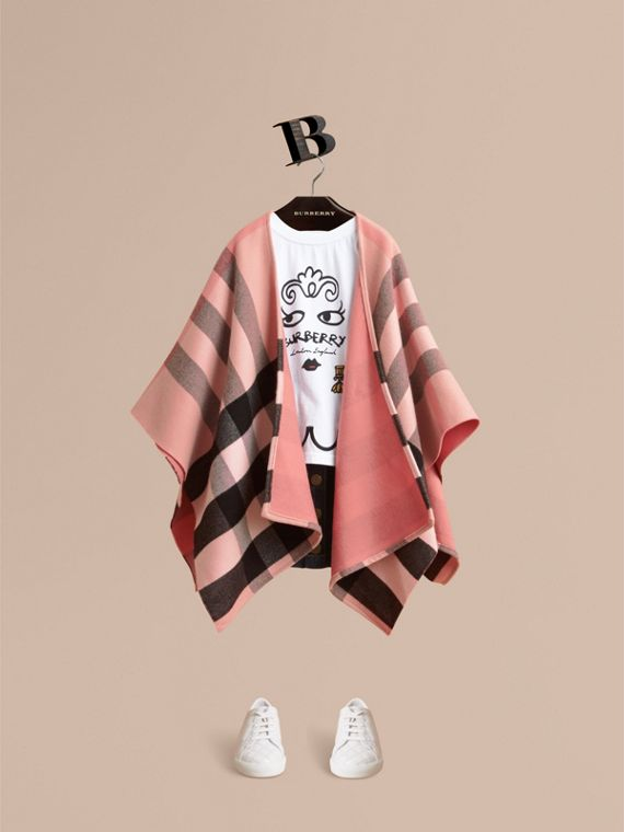 Check Wool Poncho | Burberry Canada