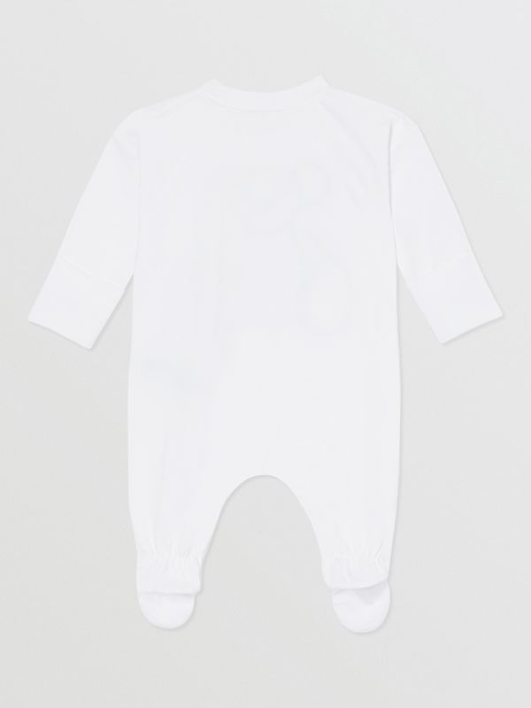 Thomas Bear Appliqué Cotton All-in-One in White - Children | Burberry Hong Kong S.A.R - cell image 2