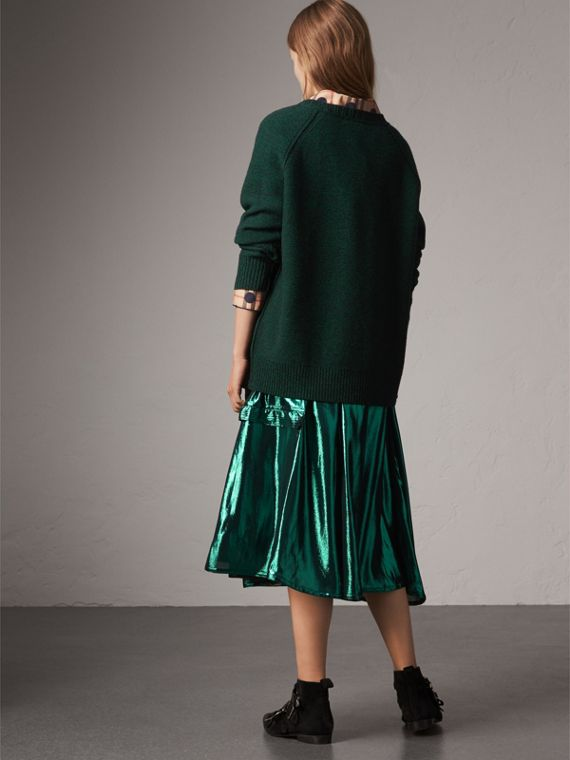 Melange Wool Sweater in Dark Forest Green - Women | Burberry United Kingdom - cell image 2