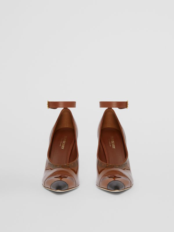 Vinyl and Leather Point-toe Pumps in Malt Brown - Women | Burberry - cell image 3