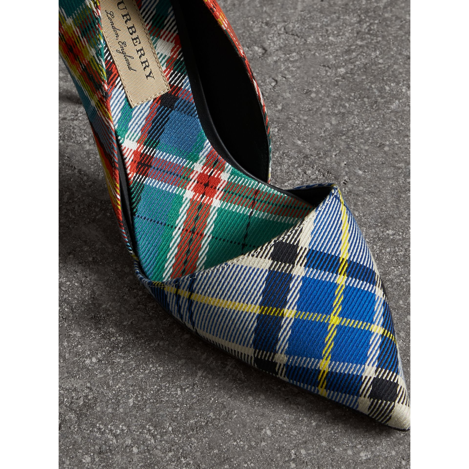 Escarpins en coton tartan (Orange Coquelicot) - Femme | Burberry - photo de la galerie 1