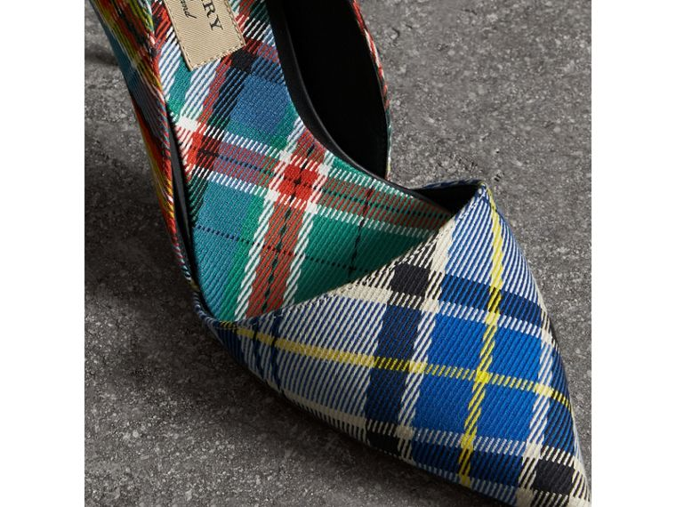 Tartan Cotton Pumps in Poppy Orange - Women | Burberry United States - cell image 1