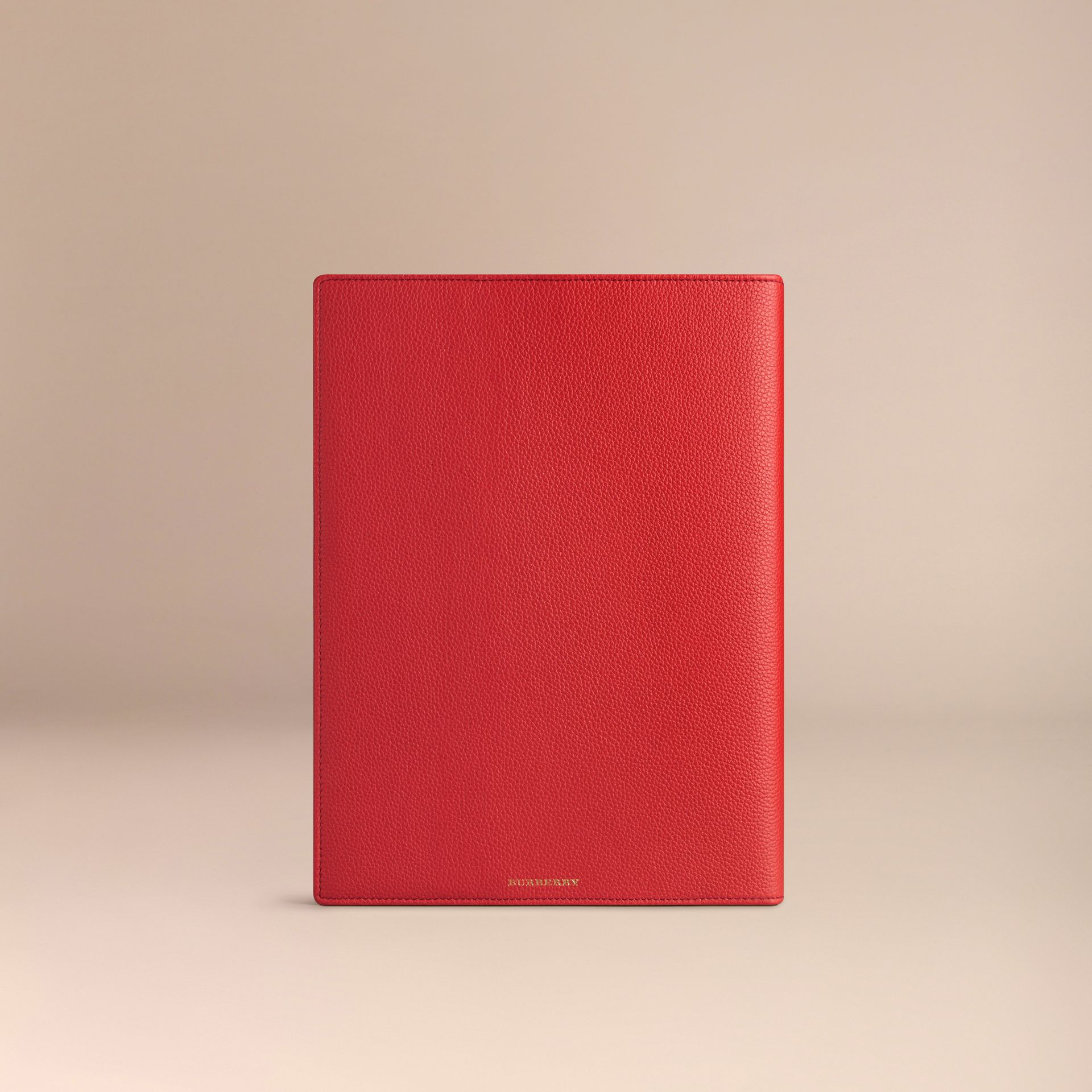 Grainy Leather A4 Notebook in Orange Red | Burberry - gallery image 4