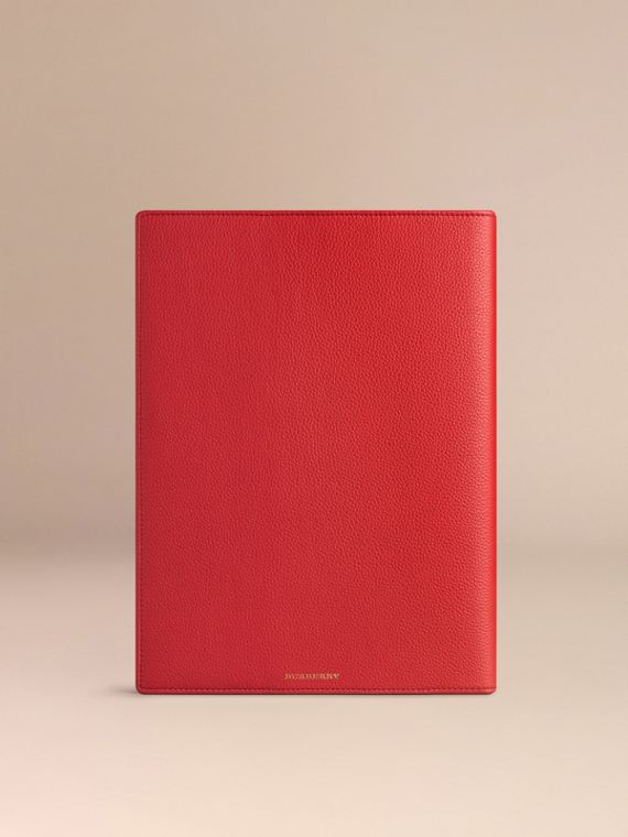 Grainy Leather A4 Notebook in Orange Red | Burberry United Kingdom - cell image 3